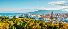 Panorama Over The Malaga City And  Port, Spain