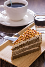 Delicious Baked Dessert : Slice Coffee Cake With Whip Cream And Almond Topping