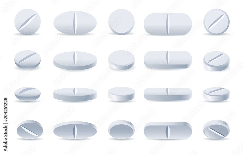 Fototapeta Pills. White medicine tablets isolated on white background, different round and oblong drugs collection vector illustration - obraz na płótnie