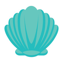 Seashell Icon Over White Background, Vector Illustration
