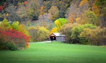 Historic Covered Bridge In Rural Vermont