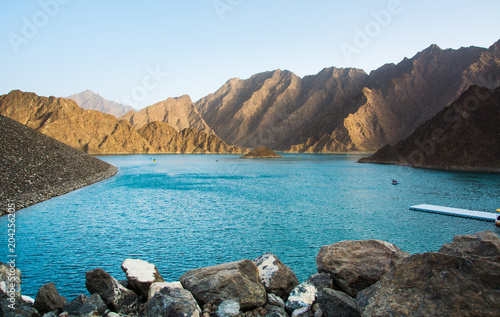 Hatta Dam Lake scenery in eastern Dubai, UAE