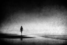 Lonely Woman Walking On Beach ...
