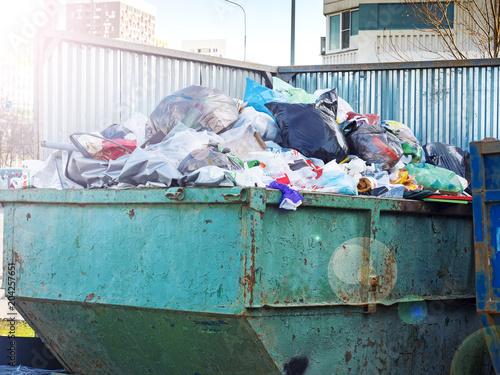 Fotobehang Koraalriffen container with garbage in street sao paulo, brazil. Garbage tanks