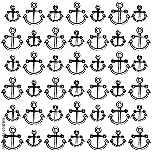 background of anchors pattern, sketch design  vector