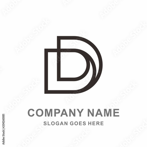 Monogram Letter D Geometric Square Circle Architecture
