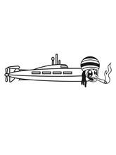 Kiffer Kiffen Drogen Rauchen Jamaika Hanf Weed Raggae Lebendig Gesicht Cool U-boot Schwimmen Tauchen Unterwasser Schiff Boot Matrose Kapitän Clipart Cartoon Comic Meer