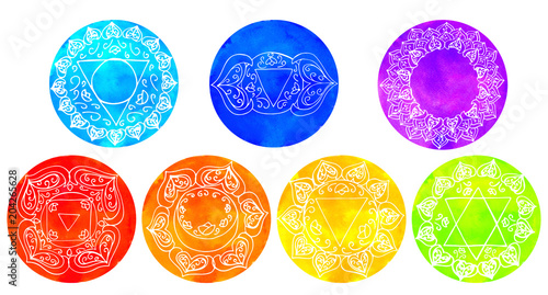 Photo  Set of watercolor chakras Hand drawing