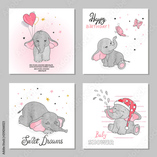 Cute Elephants Vector Illustrations Set Of Birthday Greeting Cards Posters Prints