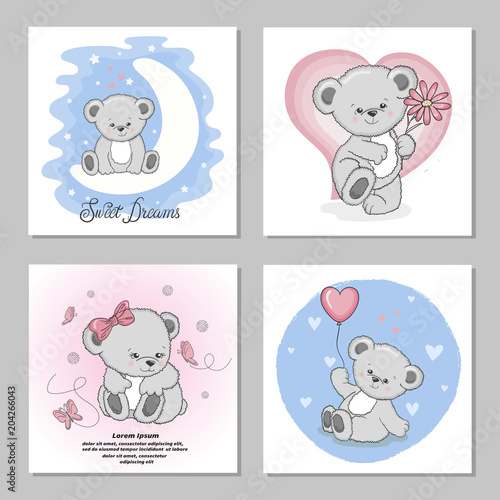 Cute Teddy Bears Vector Illustrations Set Of Birthday Greeting