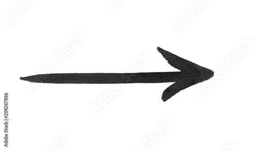 Fotografie, Tablou  Black arrow isolated on white background