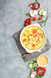 Frittata with paprika and tomatoes.