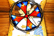 Multicolored Stained Glass Window In The Sun