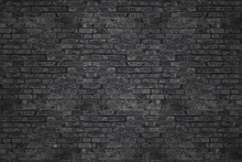 Vintage Black Wash Brick Wall Texture For Design. Panoramic Background For Your Text Or Image