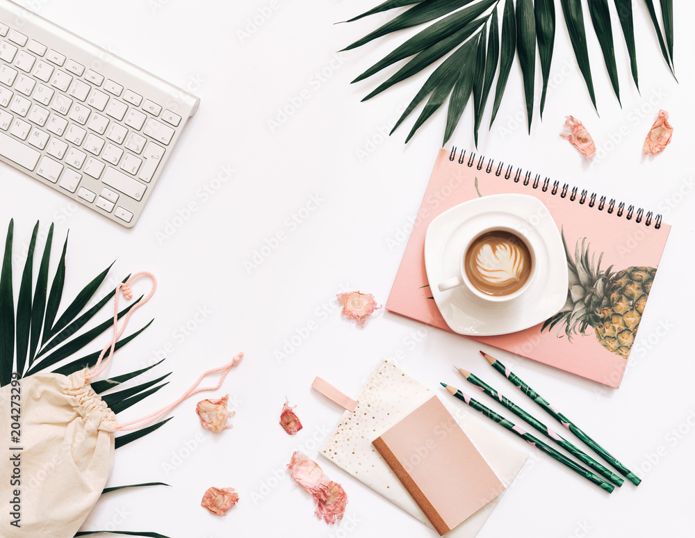 Fototapety, obrazy: Blogger Home office workspace with keyboard, coffee, notebooks on white background. Flat lay, top view