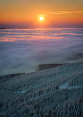 Panel Szklany 3D Amazing view from Jested mountain peak during cold winter day. Beautiful sunrise morning. Liberec, Czech republic.