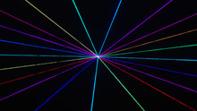Thin Rainbow Laser Beams On Bl...
