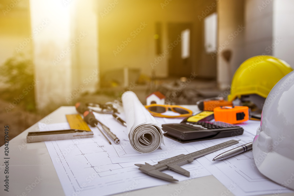Fototapety, obrazy: Engineering diagram blueprint paper drafting project sketch architectural. industrial drawing detail and several drawing tools