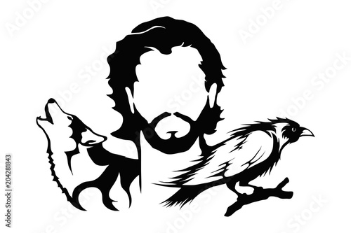 Photo  Jon Snow with a wolf and raven illustration