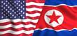 us flag and north korea flag waving symbol of relation