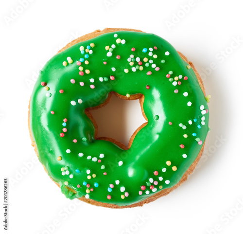 Green donut isolated on white, from above
