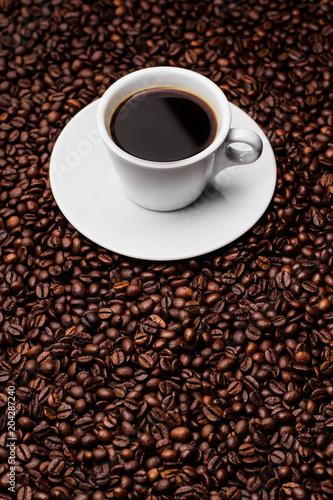 Fotobehang Cafe coffee cup grain top view