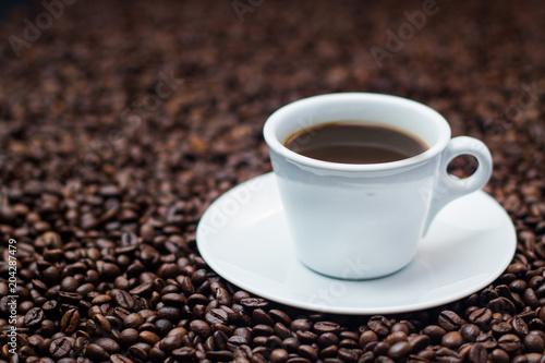 Spoed Foto op Canvas Chocolade coffee cup grain top view