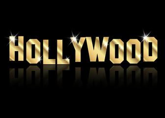 hollywood złoty wektor logo, złote litery na białym tle lub czarne tło
