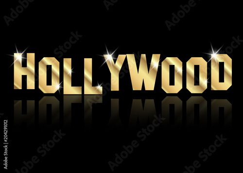 Fotografía hollywood golden vector logo , gold letters isolated or black background