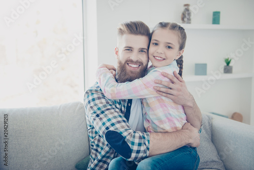 Tendy joyful family with one child parent cute good little blonde girl with hair Canvas-taulu