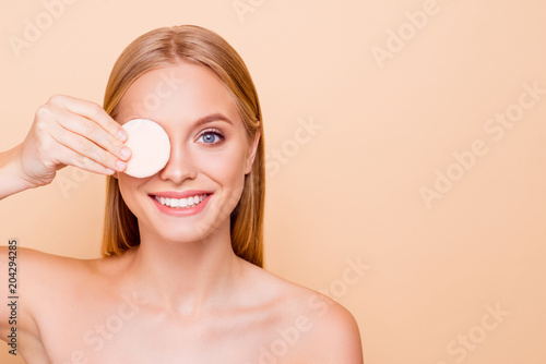 Fotografie, Obraz  Comic, cheerful, positive, toothy girl with beaming smile flawless shine skin cl