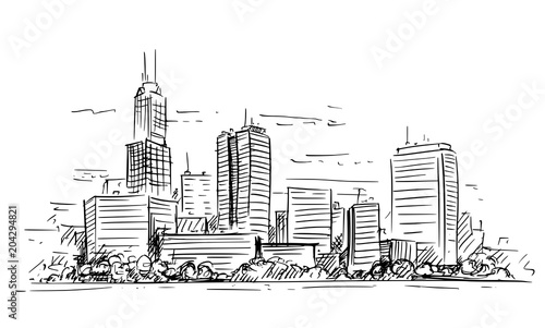 vector-artistic-sketchy-pen-and-ink-drawing-illustration-of-generic-city-high-rise-cityscape