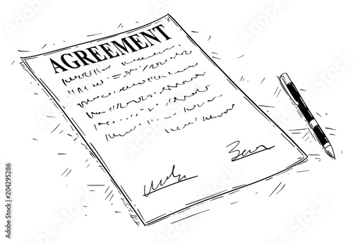 Vector artistic ink drawing illustration of pen and agreement document to sign Canvas Print