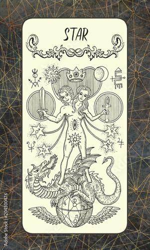 Star  The Magic Gate tarot deck card  Fantasy engraved illustration