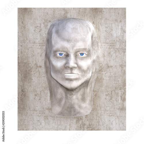 Face morphing out of a wall isolated on white, 3d render  - Buy this