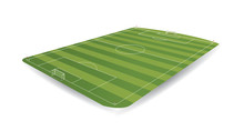Empty Soccer Field In Perspective With 3D Appearance On White Background. Vector Image