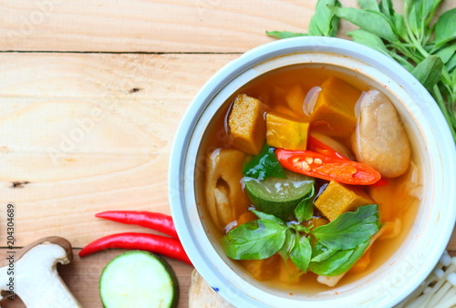 Thai spicy mixed vegetables soup with mushrooms