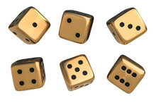 Set Of Golden Dice With Black ...