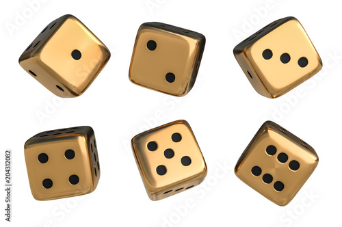 Foto Set of golden dice with black dots isolated on white background