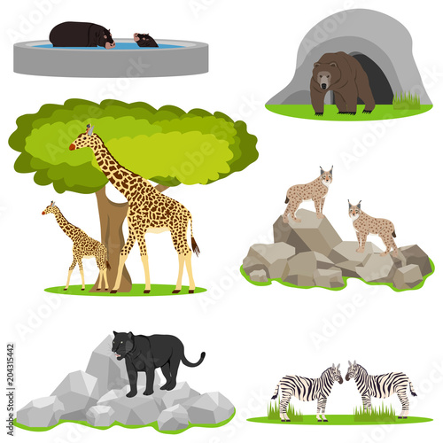 Animals in the zoo, a menagerie in the open air, animals in a cage.