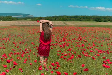 A girl in red dress in huge poppy field