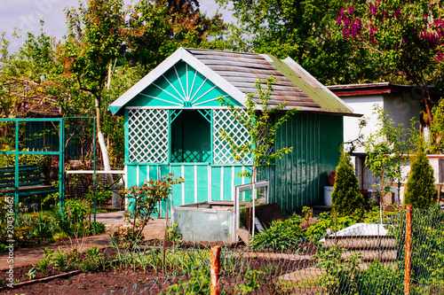 Allotment hut in spring time Canvas Print