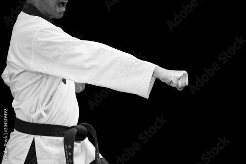 Taekwondo Traditional Korean Fighter hand Punch Flight on black