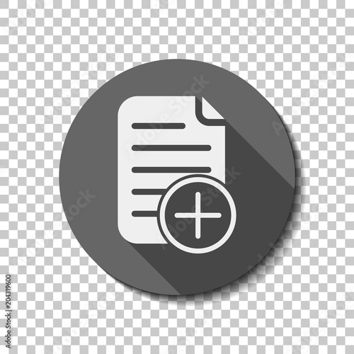 add document icon, paper and plus in circle. White flat icon wit Canvas Print