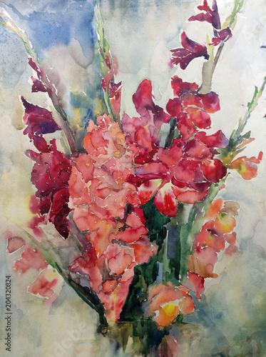Streszczenie jasne kolorowe tło dekoracyjne. Kwiatowy wzór ręcznie robiony. Piękny delikatny romantyczny bukiet mieczyków wykonany w technice akwarel z natury.