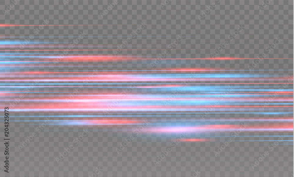 Fototapety, obrazy: Vector red and blue special effect. Luminous stripes on a transparent background. Beautiful glow glow and spark.particle motion effect