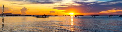 Poster Melon Beautiful panorama seascape sunset over sea