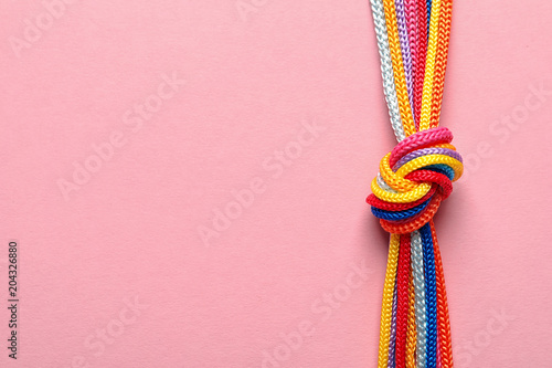 Fotografie, Obraz Different ropes tied together with knot on color background