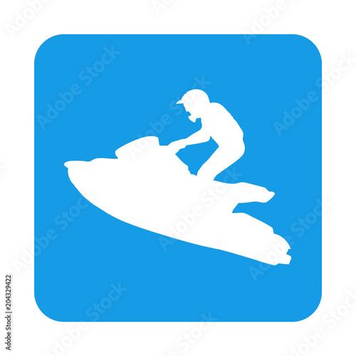 Garden Poster Water Motor sports Icono plano silueta moto acuatica en cuadrado azul
