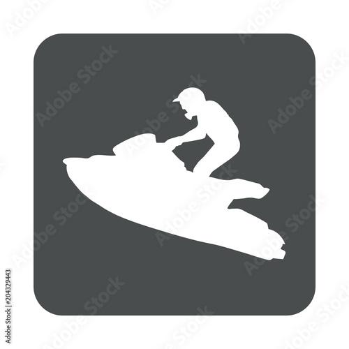Foto op Aluminium Water Motor sporten Icono plano silueta moto acuatica en cuadrado gris